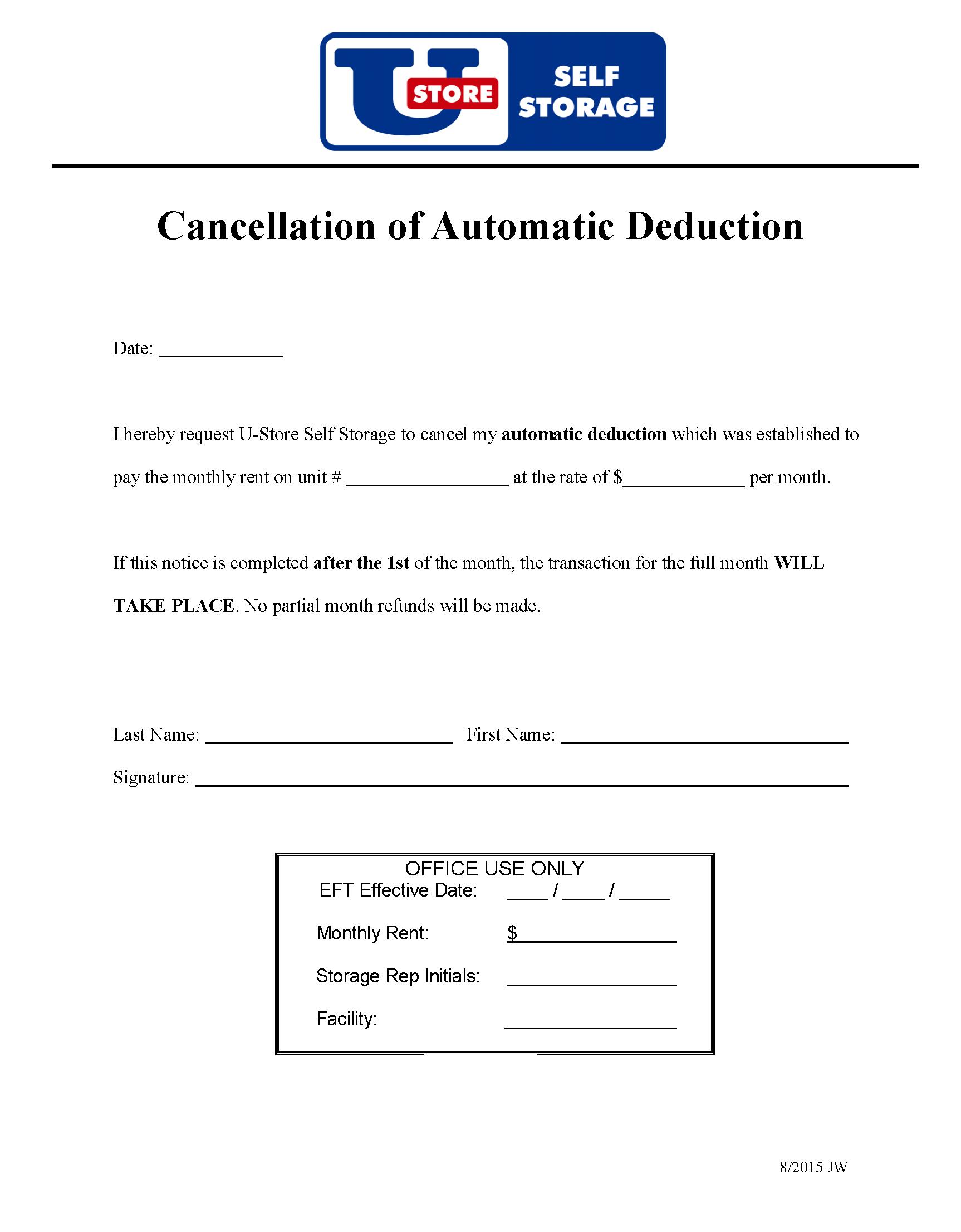 U-Store - Cancel Auto