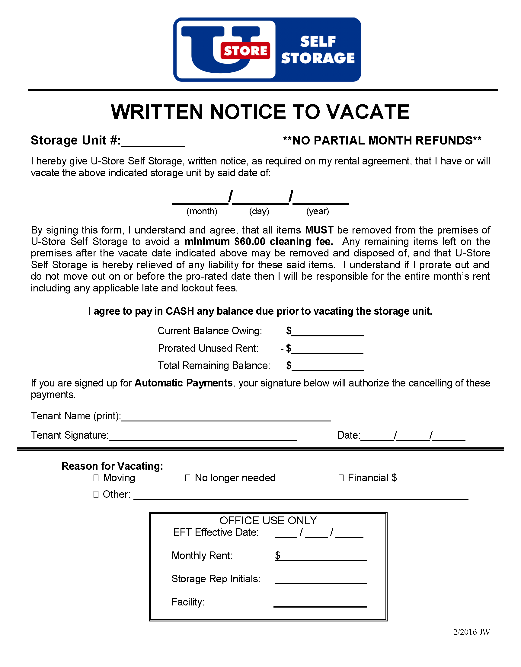 U-Store - Notice to Vacate